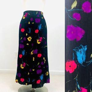 vintage 90s midi skirt black floral elastic waist